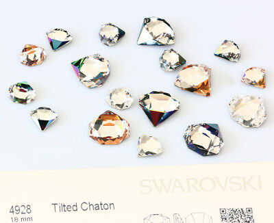 Genuine SWAROVSKI 4928 Tilted Chaton Fancy Crystals * Many Sizes & Colors