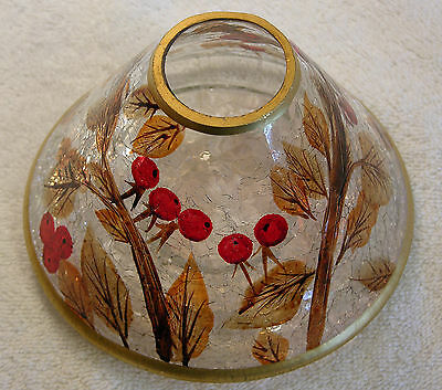Yankee Candle Large Shade/topper Red Berries/ Copper Leaves Design