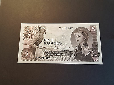 Government of Seychelles 5 Rupees Banknote - 1 January 1968 A/1 243107 P14a Unc