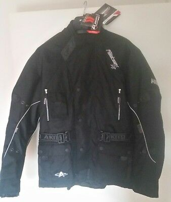 Akito Python Waterproof Ce Approved Armour Motorcycle Jacket Size Large