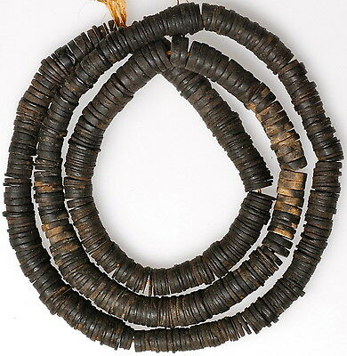 """Long 32"""" Strand African-made Palm Nut Disc Beads"""