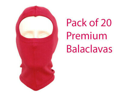 Pack of 20 Premium Quality Red Balaclavas - One Size fits All