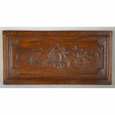 Antique French 19th Century Carved Oak Wood Decorative Architectural Panel