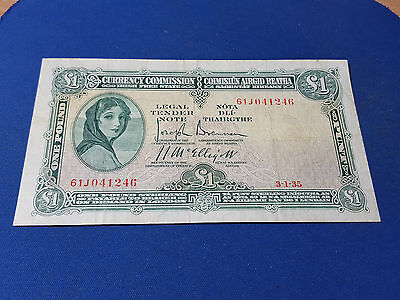 Ireland Currency Commission £1 Banknote 3 January 1935 61J041246 P2A F+