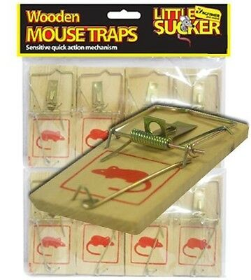 8 x Reusable Wooden Traditional Wood Mousetraps Mouse Trap Bait Rodent Catcher