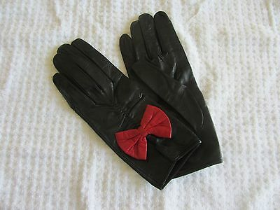 Italian Leather Women's Gloves NEW Black with Red Trim