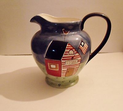 J C Penney Home Collection Large Patriotic Americana Ceramic Water/drink Pitcher