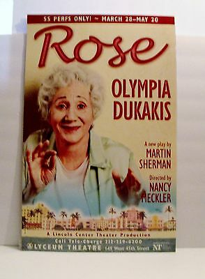 """New """"rose"""" Lyceum Theatre Window Card, Olympia Dukakis Limited Engagement"""