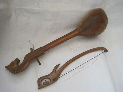 Gusle Stringed Musical Instrument Lute , Wonderful Hand Carving