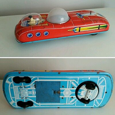 """Moon tin toy space tank Intercosmosz battery operated Vintage 60"""""""