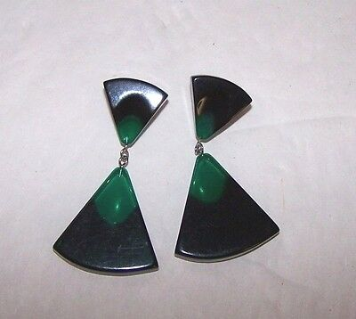 Moonglow Green Bk Earrings Early Plastic Translucent Dangle Pierced Mid Century