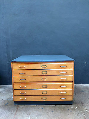 Vintage 60s A0 Plan Chest Drawers.Map.Retro.Industrial Shop Fit Haberdashery