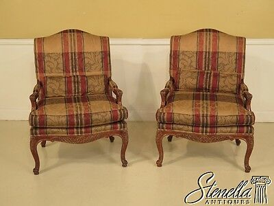 28375:  Pair of COUNCILL CRAFTSMEN French Style Upholstered Open Arm Chairs