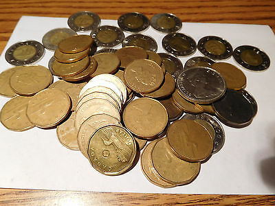 Mixed Lot Of Canadian Coins Circulated - $71.00 Canadian Dollars Total