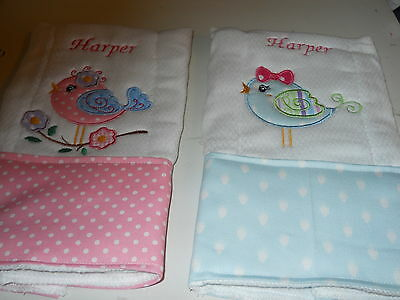 Personalized Appliqued Embroidered Baby Burp Cloths set of three