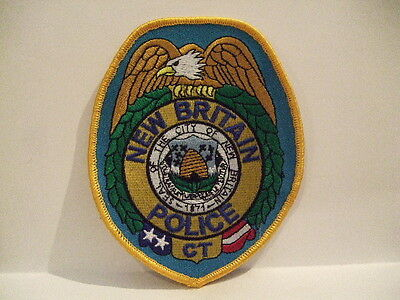 police patch  NEW BRITAIN POLICE CONNECTICUT   GOLD BORDER