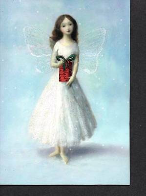 Faerie Fairy Holding Gift With Glitter Accents Elegant Christmas Cards 5