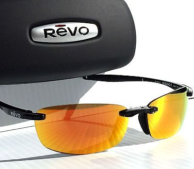 10c09c3af3 NEW  REVO DESCEND E In BLACK w POLARIZED FIRE Orange Lens Sunglass 4060 01  OG