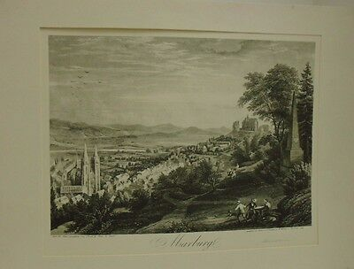 Mounted Fine Antique Etching/Print of Marzburg, Germany. Architecture/Scenery
