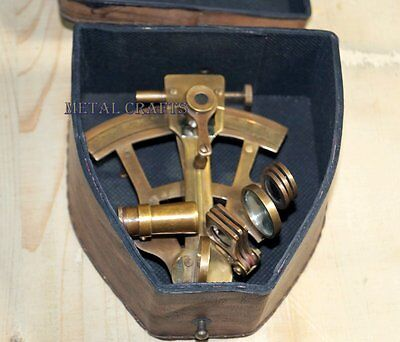 Antique Nautical Brass Sextant With Leather Case Astrolabe Gps Navy Collectible