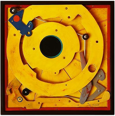 Yellow Circle by TPMcKEE - Modern Abstract Original 3D Wood Wall Art Sculpture