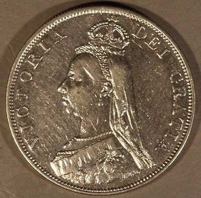 1889 Great Britain Double Florin Great Details Cleaned ** FREE U.S SHIPPING **