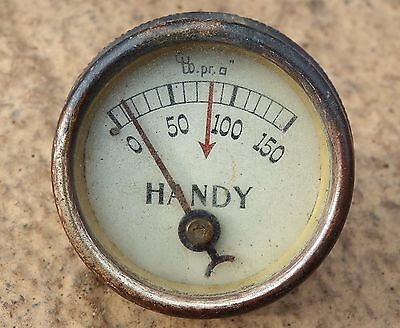 Vintage Handy Brass Pressure Gauge Industrial Stationary Engine Classic