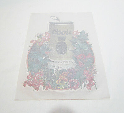 COORS BEER CAN SURROUNDED BY FLOWERS 1970s VINTAGE IRON ON T-SHIRT HEAT TRANSFER