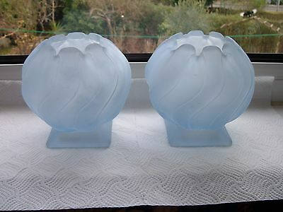 "Pair of Art Deco Bagley Frosted Blue Glass ""Equinox"" Bowl - 4 3/4"" tall"