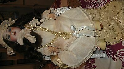 Antique French Tete Jumeau Doll Size 9 Beautiful clothes human hair wig,damage