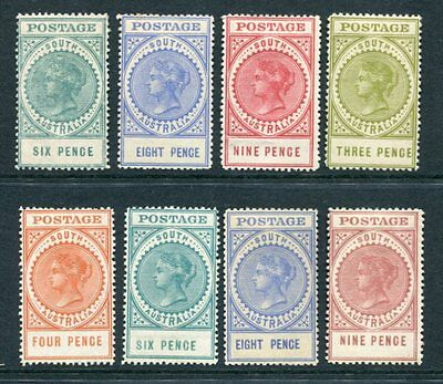 SOUTH AUSTRALIA 1904 QV MH to 9d  8 Stamps