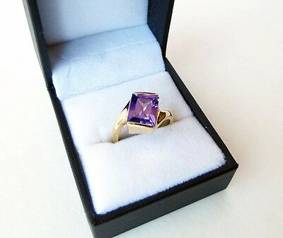 True Vintage Gold Plated Cocktail Ring Square Setting w/ faux Amethyst Size 7.5