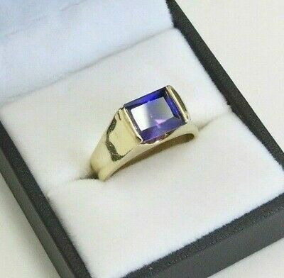 True Vintage Chunky style Gold plated Ring Royal Purple Gemstone Size 8.25