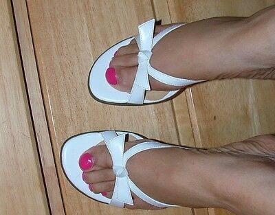 """Women's White slides size11 with 3"""" heels"""