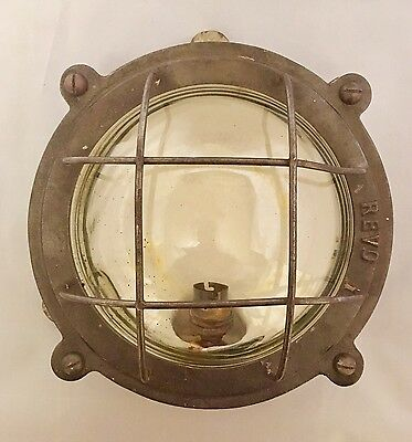 Antique Vintage Original Large Metal Bulkhead Light Industrial Ships By Revo
