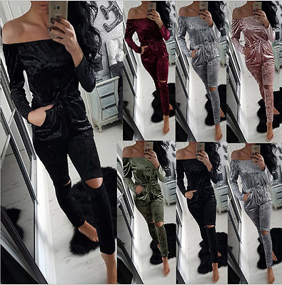 Ladies Crushed Velour Velvet Womens Warm Lounge Wear Co-ordinate Tracksuit hot*