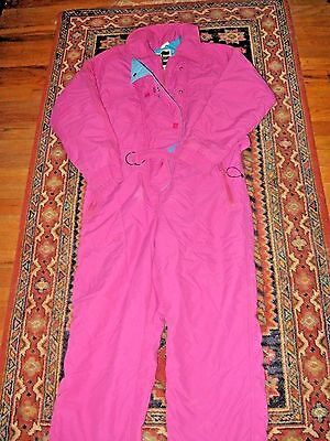 Vintage Pink/ Blue Womens Europe Snow/Ski Suit - Size 12 Thinsulate