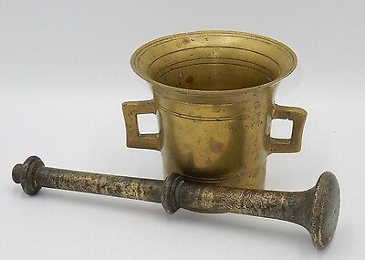 "ANTIQUE 1800's SOLID BRASS APOTHECARY 4"" MORTAR & LONG PESTLE"
