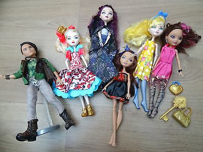 Ever After High Doll Bundle X6 By Mattel + Boy Doll Hunter Raven Queen