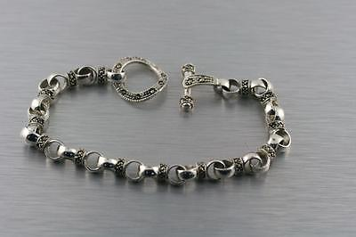 925 Sterling Silver Braid Rope Chain Bali Style Bracelet Estate