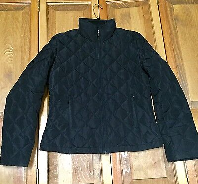 Women's Kenneth Cole Reaction Quilted Down Jacket Size Medium Zip Black Coat