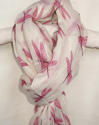 New Womens White With Pink Dragonflies Scarf Shawl Wrap Fashion Ladies Scarves