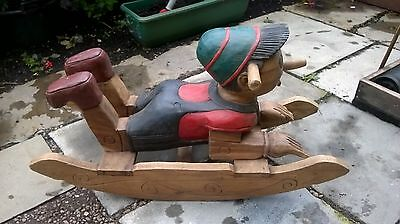 Vintage Style Pinnochio Wooden Rocking Horse 32 inches long