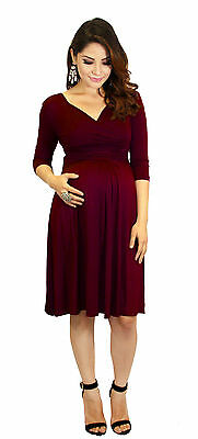 Burgundy Maternity Dress Womens Fashionable Wear Pregnancy Clothes Long Sleeve