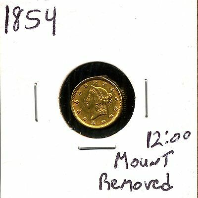 1854 G$1 Liberty Head Gold Dollar - Mount Removed