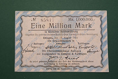 Notgeld, Ebingen, Tailfingen, Balingen, 1 Million Mark, 1923