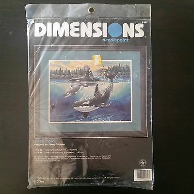 """NEW SEALED Dimensions Orca Cove Killer Whales Needlepoint Kit 16""""X12"""" 1998 #2469"""