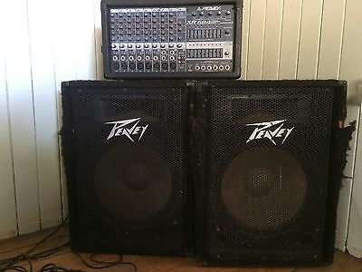 Peavey stereo powered Mixer/ PA System With 2x 200 Watt Amps