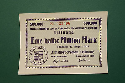 Notgeld, Tettnang, Amtskörperschaft, 1/2  Million Mark, 1923