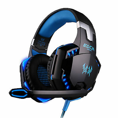 EACH G2000 Blue LED Gaming Headphones Headset Earphone Headband with Microphone